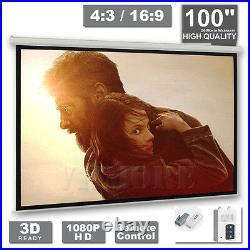 100 Inch Electric Motorised Projector Screen Home Cinema 43 169 Remote HD TV