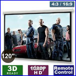 120 Motorised Electric Projector Screen Home Cinema HD DVD 43 169 Projection