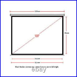 120 Motorized Electric Projector Screen Home Cinema HD DVD 43/169 Projection