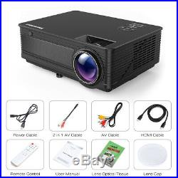 12000 Lumens 120 HD 1080P LED Projector Home Cinema for Smartphone Labtop DVD