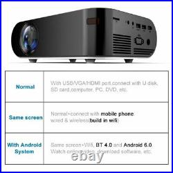 3D 4K HD Wifi LCD Projector Bluetooth Mini Android Home Movie Theater HDMI AV
