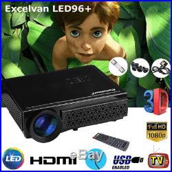 3D 5000Lumens 1080P HD LED Projector For Smartphone Tablet PC TV HDMI/USB/AV/VGA