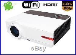 3D WIFI 5000 Lumen 1080P FULL HD Home Cinema HDMI Video Movie TV LED Projector