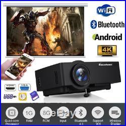 4K WIFI Android 6.0 BT Projector Home Cinema Multiscreen HDMI/USB/TF/AV/VGA 1+8G