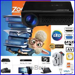 5000Lumen 1080P LED 3D Projector Home Cinema Multimedia HDMI USB VGA AV Player