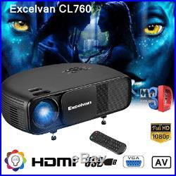 Full HD 1080P 3200Lumens LCD/LED Projector 3D Home Cinema HDMI/USB/VGA/AV Moive