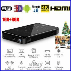 HD 4K WiFi Smart DLP Mini Projector Android Bluetooth 8GB 3D Mobile Video Beamer
