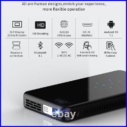 Mini Pocket 3000 Lumens DLP Wifi Android 7.1 Home Cinema Projector HD 1080P HDMI