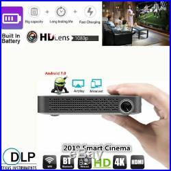 Mini Portable 5500 Lumens DLP Android 7.0 Wifi HD 4K Home Cinema Projector HDMI