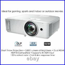 Optoma GT1080HDR Short Throw 4K HDR Blur-Busting Gaming Projector 3,800 Lumens