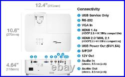 Optoma UHD50X True 4K UHD Projector 240Hz 3400 lumens 16ms Response HDR10 & HLG