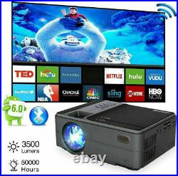 Portable Android Projector WiFi Blue tooth Smart HD Home Cinema 1080P Movie HDMI