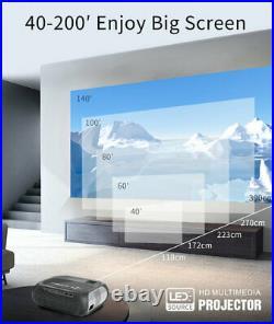 Portable Video LED Projector Home Cinema Theater Wifi 1080P HD 3D HDMI USB VGA